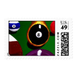 8 Ball on Fire Pool Billiards Stamp by Teo