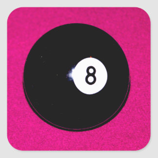 8 Ball on Pink Square Sticker