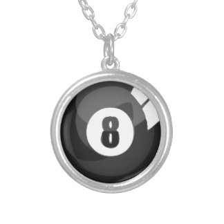 8 Ball Pool Silver Plated Necklace