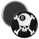 8 ball skull 2 inch round magnet