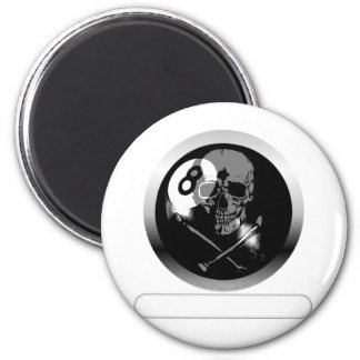8 Ball Skull and Crossbones 2 Inch Round Magnet