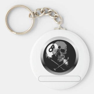 8 Ball Skull and Crossbones Basic Round Button Keychain