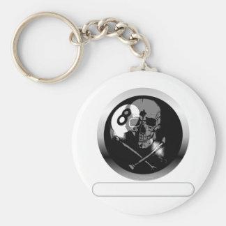 8 Ball Skull and Crossbones Key Chain