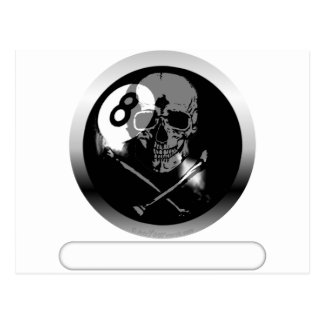 8 Ball Skull and Crossbones Postcard
