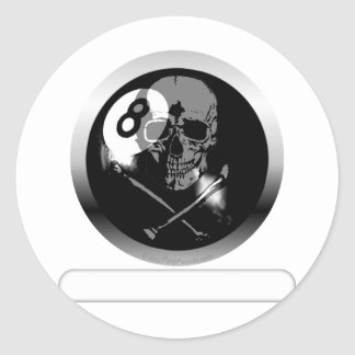 8 Ball Skull and Crossbones Classic Round Sticker