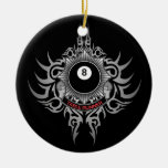 8 Ball Table Runner - Red Double-Sided Ceramic Round Christmas Ornament