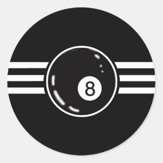 8 Ball White Stripes Classic Round Sticker