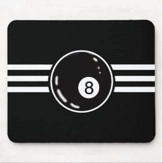 8 Ball White Stripes Mouse Pad