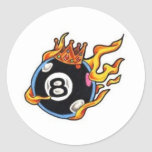 8 Ball with Flames Round Sticker