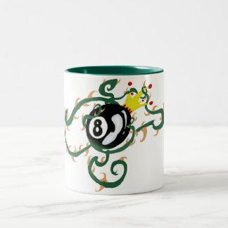 8-ball with vines Two-Tone coffee mug