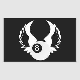 8 Ball with wings Rectangular Sticker