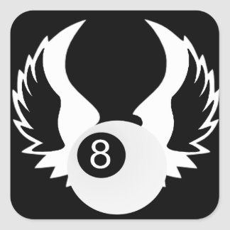 8 Ball with wings Square Sticker
