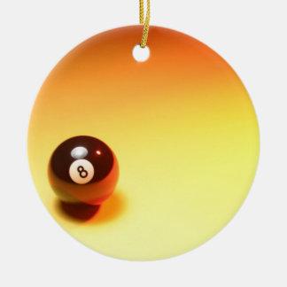 8 Ball Yellow Background Ceramic Ornament