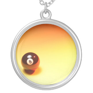 8 Ball Yellow Background Round Pendant Necklace