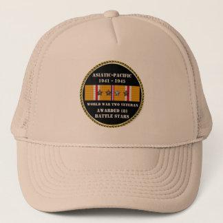 8 BATTLE STARS WWII Asiatic Pacific Veteran Trucker Hat