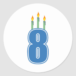 8 Birthday Candles (Blue / Green) Classic Round Sticker