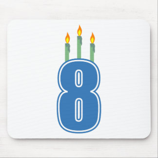 8 Birthday Candles (Blue / Green) Mouse Pad