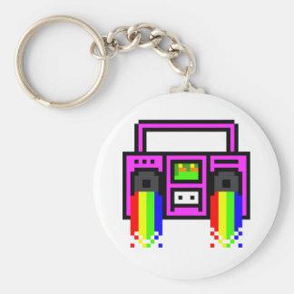 8 Bit Boom Box Basic Round Button Keychain
