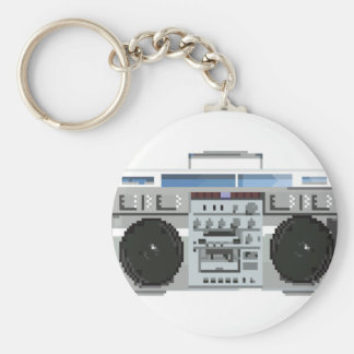 8-bit Boom Box Basic Round Button Keychain