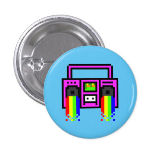 8 Bit Boom Box Pinback Button