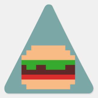 8-Bit Burger Design Triangle Sticker
