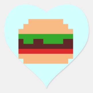8-Bit Burger Pixel Art Design Heart Sticker