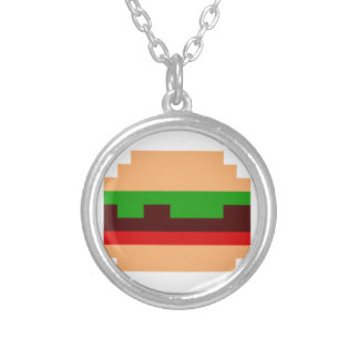 8-Bit Burger Pixel Art Design Round Pendant Necklace