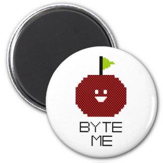 8-Bit Byte Me Cute Apple Pixel Art 2 Inch Round Magnet