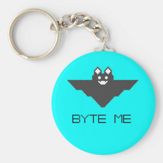 8-Bit Byte Me Cute Vampire Bat Pixel Art Keychain