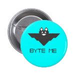 8-Bit Byte Me Cute Vampire Bat  Pixel Art Pin