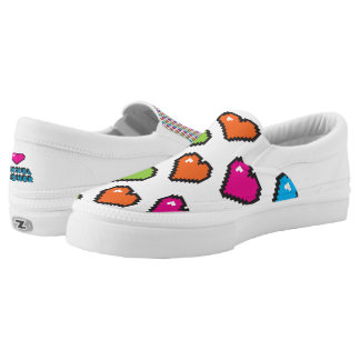 8-Bit Candy Colored hearts Slip-On Sneakers