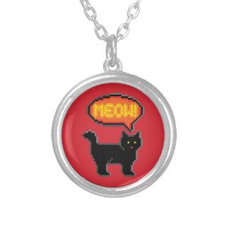 8-Bit Cat Round Pendant Necklace