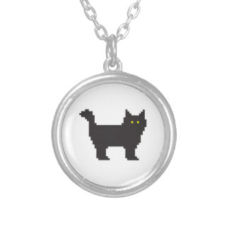 8-Bit Cat Silver Plated Necklace