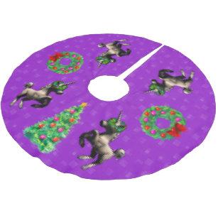 8 bit christmas tree skirt bright purple