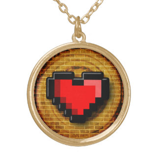 8 Bit Extra Life Heart Gold Plated Necklace