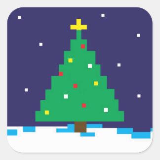 8-bit Gaming Holiday Tree Square Sticker