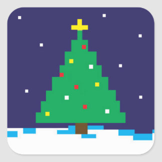 8-bit Gaming Holiday Tree Square Stickers