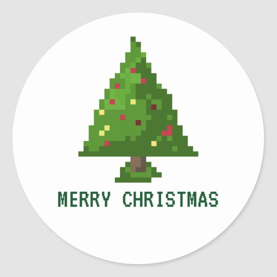 Geek Christmas.8 Bit Geek Pixel Tree Christmas Holiday Stickers