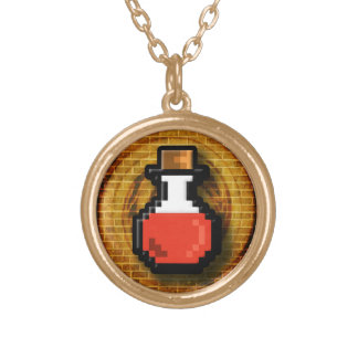 8 Bit Health Potion Flask Round Pendant Necklace