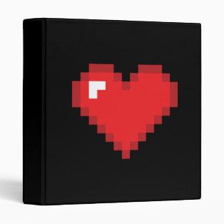 8 Bit Heart 3 Ring Binder