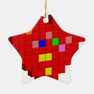 8-Bit Heart Ceramic Ornament