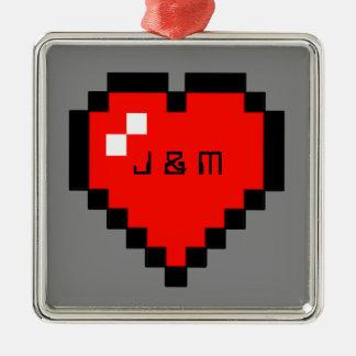 8 - Bit Heart (Full) Metal Ornament