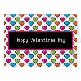 8-bit heart happy valentines day greeting card