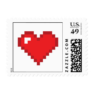 8 Bit Heart Postage Stamps
