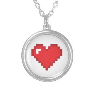 8 Bit Heart Round Pendant Necklace