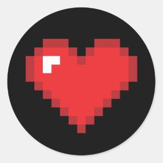 8 Bit Heart Round Sticker