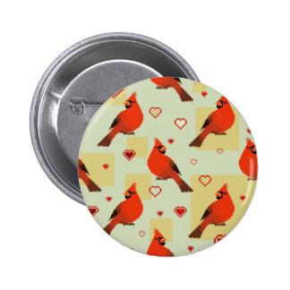 8-bit Hearts and Cardinals Pattern Pinback Button