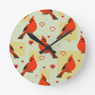 8-bit Hearts and Cardinals Pattern Round Clock