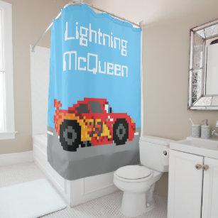 8 Bit Lightning McQueen Shower Curtain