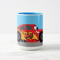 8-Bit Lightning McQueen Two-Tone Coffee Mug